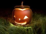 Jack O lantern with grass
