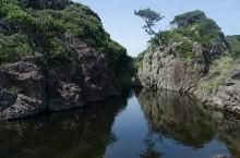 海岸のそばの池