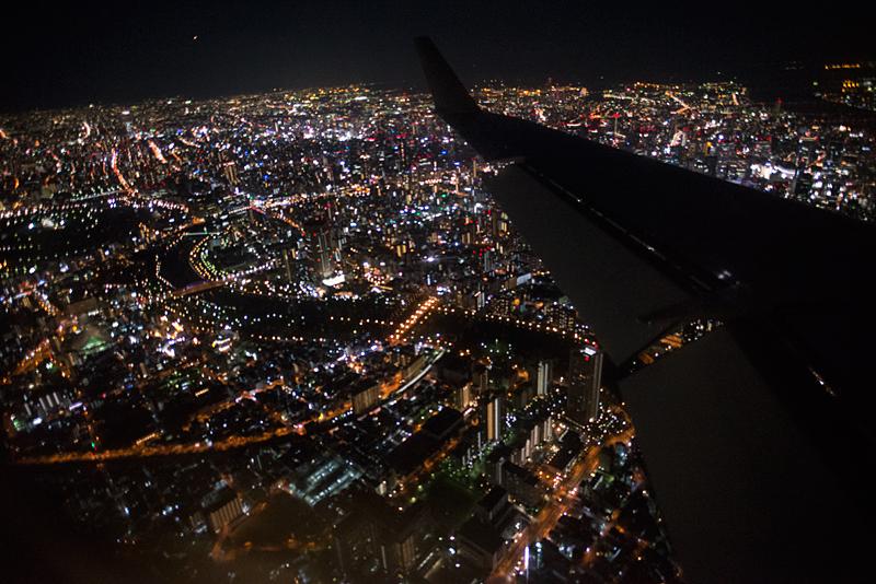 夜の空撮、和歌山と大阪