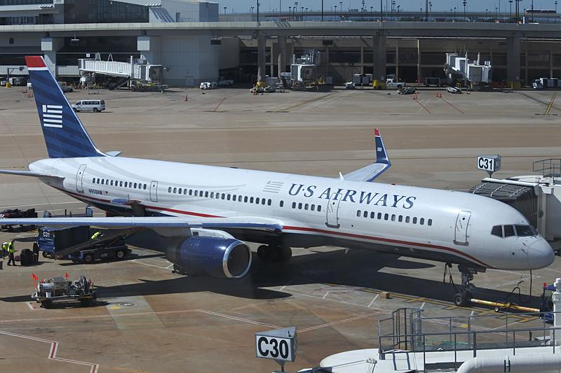 ダラス空港の飛行機